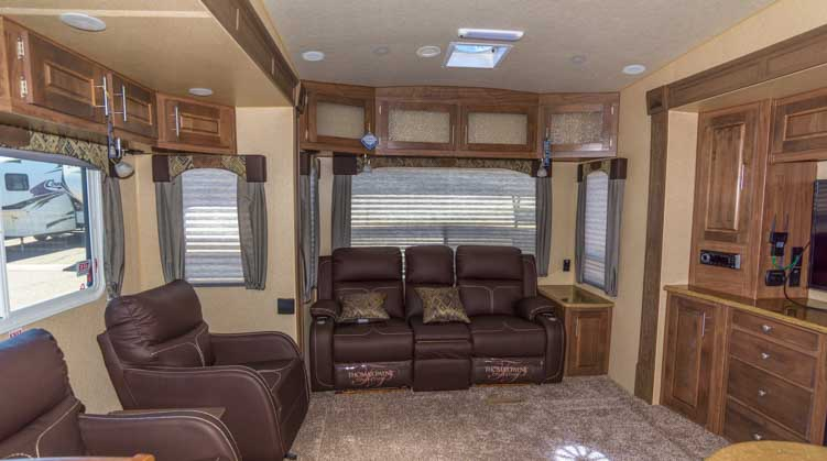 Arctic Fox 35-SZ fifth wheel trailer RV living room-min