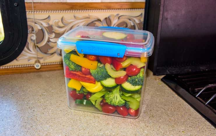 Vegetables cut and stored for RV refrigerator-min