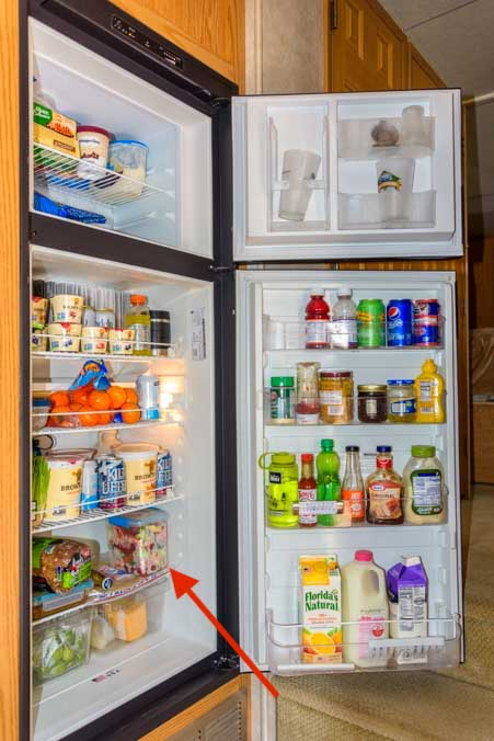 Veggie storage in 8 cubic foot RV refrigerator-min