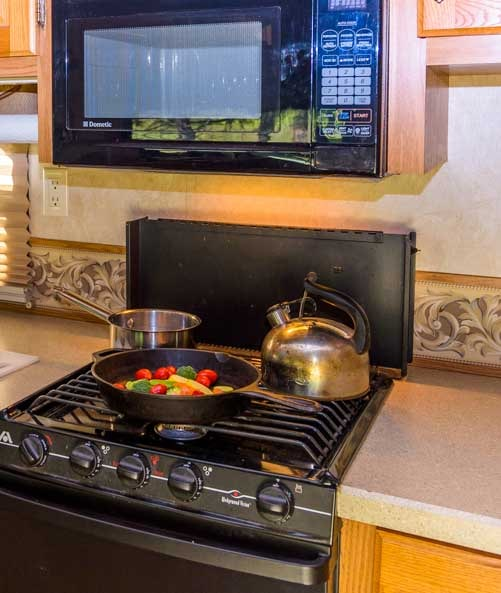 Vegetable stir-fry in an RV-min