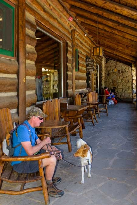 Log rocking chairs outside the post office and saloon Grand Canyon Lodge at the North Rim-min