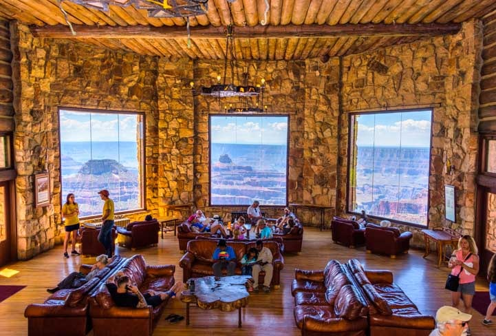 View from picture windows at Grand Canyon Lodge at the North Rim-min