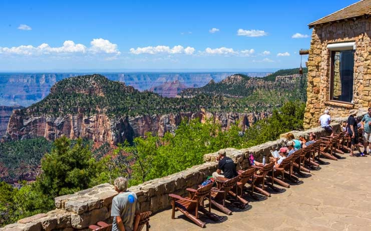 Grand Canyon Lodge North Rim stone patio deck-min