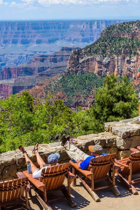 Grand Canyon Lodge stone patio deck at the North Rim-min
