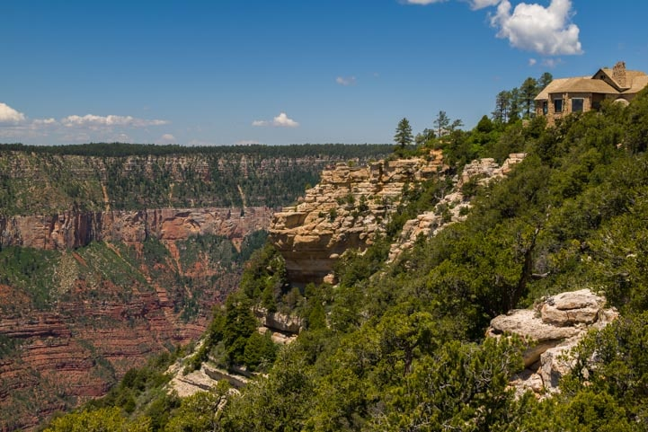 View of the Grand Canyon Lodge from Bright Angel Point Trail-min
