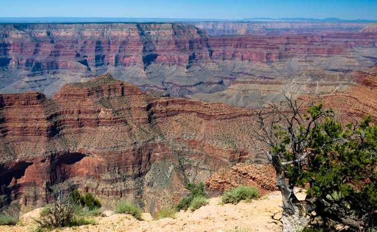 Brilliant red rock cliffs at Point Sublime Overlook Grand Canyon-min