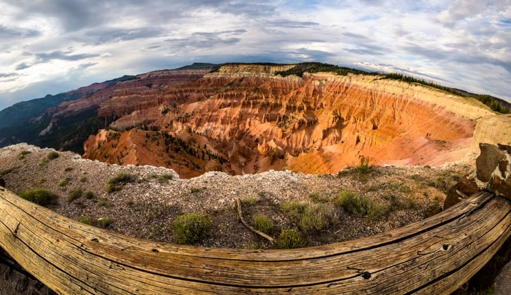 Fish-eye view of Cedar Breaks National Monument Utah-min