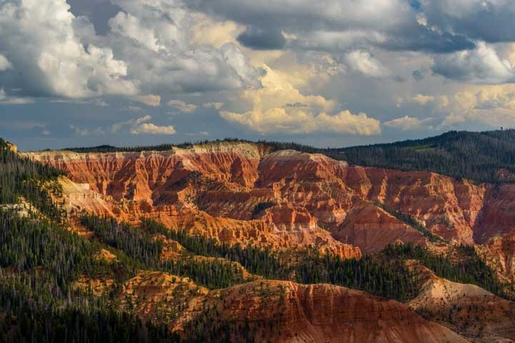 Golden hour storm clouds Cedar Breaks National Monument Utah-min