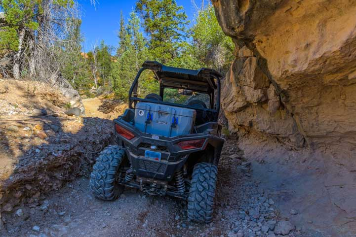 Narrow passage on Casto Canyon ATV trail Utah-min