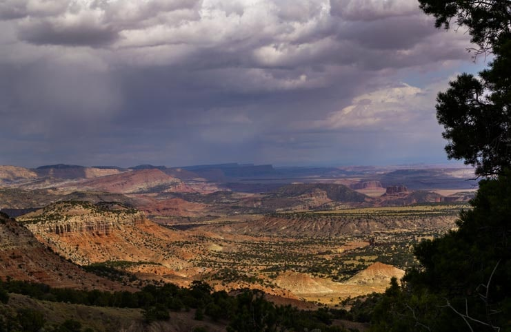 Storm and rain over Capitol Reef National Park Utah-min