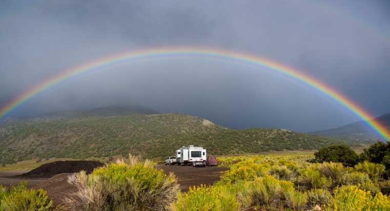 Rainbow over fifth wheel RV-min