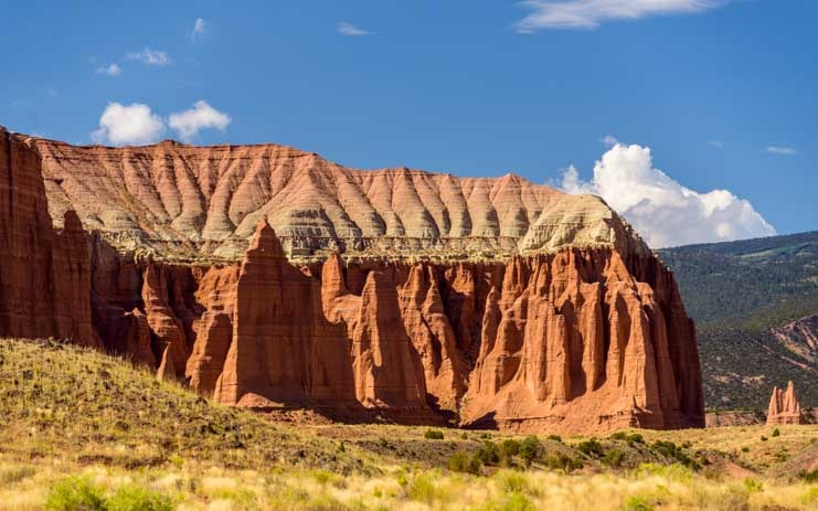 Cathedral buttresses and roofline Cathedral Valley Capitol Reef National Park Utah-min