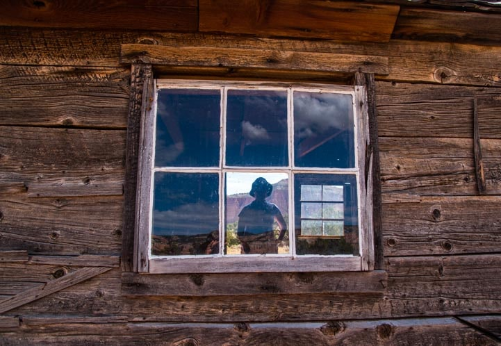 Window view old cabin Cathedral Valley Capitol Reef National Park Utah-min