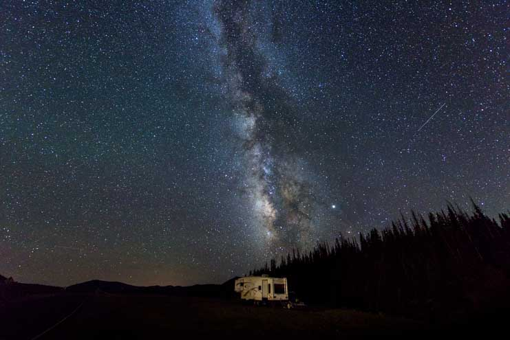 Milky Way over an RV in a clear night sky-min