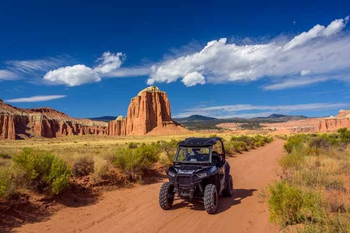 Side-by-side RZR ride Cathedral Valley Capitol Reef National Park Utah