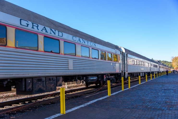 Trains cars on the Grand Canyon Railway in Williams Arizona-min