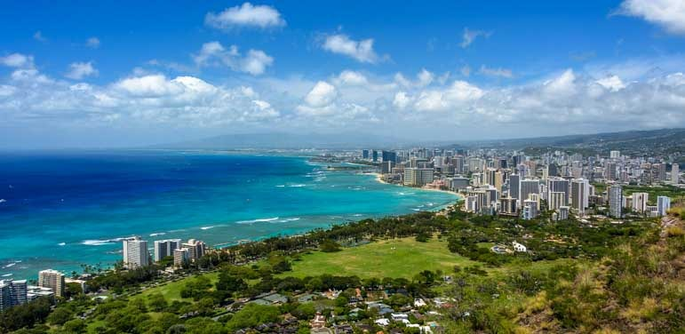 View of Waikiki from Diamond Head Oahu Hawaii-min