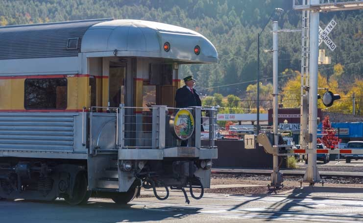 Grand Canyon Railway train arrives in Williams AZ-min