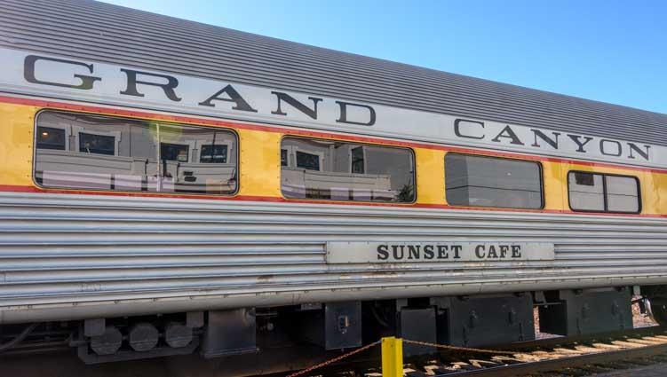 Sunset Cafe train car on Grand Canyon Railway in Williams Arizona-min