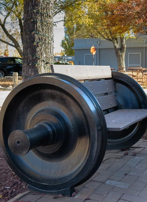 Park bench made from train wheels Williams Arizona-min