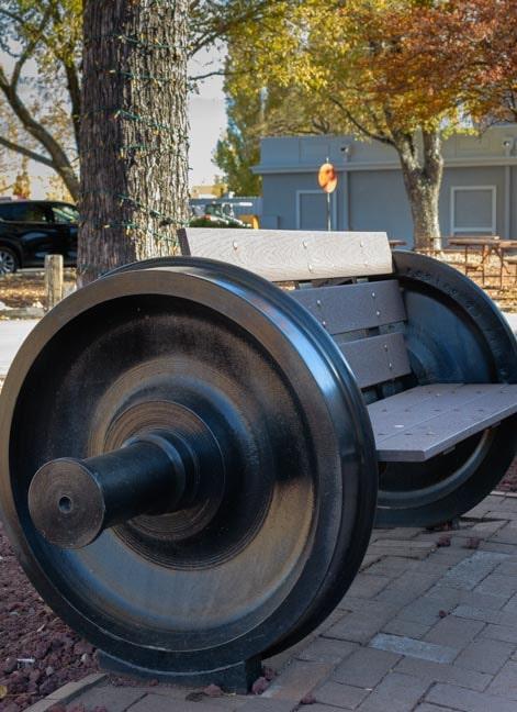 Park bench made from train wheels Williams Arizona-min