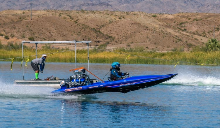 Flying high on Lake Havasu in drag boat race-min