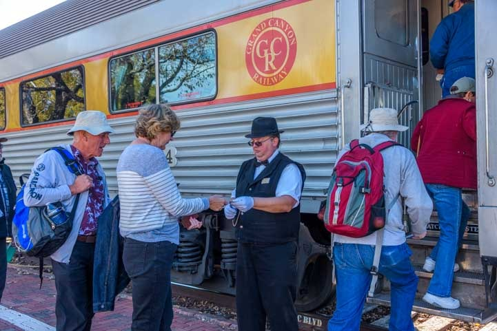 Taking tickets at Grand Canyon Railway in Williams Arizona-min
