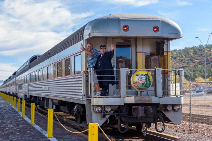 Grand Canyon Railway train departs from Williams Arizona-min