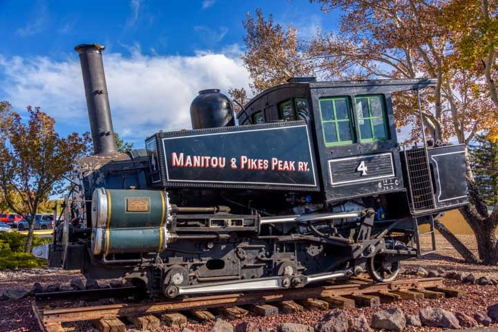 Cog railway car from Pike's Peak on display at Grand Canyon Railway in Williams Arizona-min