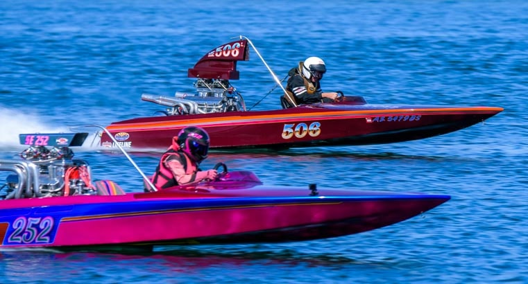 Neck and neck drag boat race at Blue Water Casino Park Arizona-min