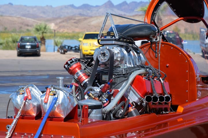 Closeup of drag boat engine-min