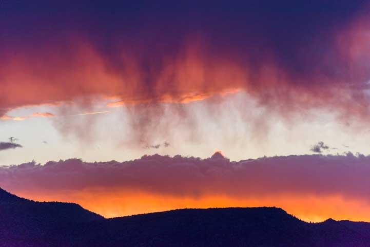 Rain clouds at sunset
