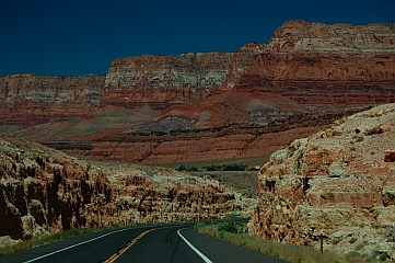 Vermillion Cliffs AZ near Lees Ferry Arizona seen from our RV on the road