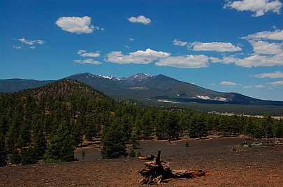 Lava Flow Trail hike at Sunset Crater near Bonito Campground and San Francisco Peaks Flagstaff AZ