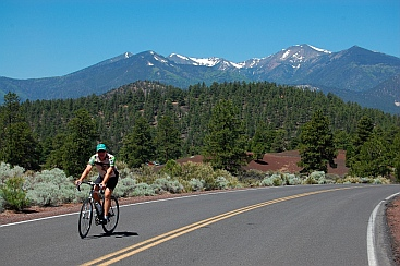 Bicycling near San Francisco Peaks near Bonito Campground at Sunset Crater outside Flagstaff, Arizona
