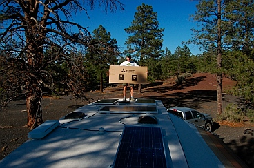 Solar panel installation (Kyocera 130 watt solar panel & Mitsubishi 120 watt solar panels) on our RV, a Hitchhiker fifth wheel