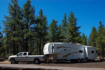 Hitchhiker fifth wheel at Bonito Campground in Flagstaff, AZ
