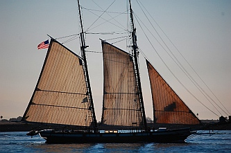 Wooden schooner in view from our RV at Shelter Island San Diego