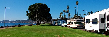 RVs lined up on Shelter Island Drive