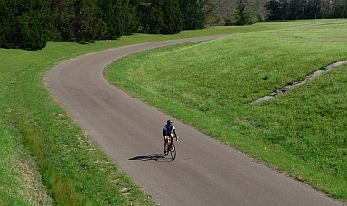 Bicycle ride to an Indian Mound on Natchez Trace Parkway, Mississippi