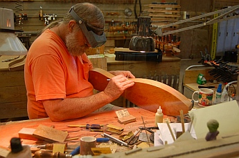 Hand crafting dulcimers at The Dulcimer Shoppe, Mountain View, AR