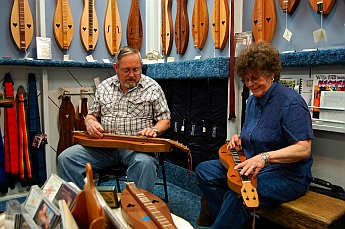 Harmonizing at The Dulcimer Shoppe, Mountain View, AR