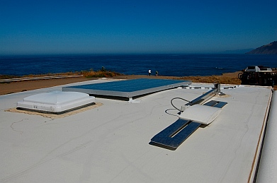 Solar panel installation completed on the roof of our RV at Westport-Union State Park CA California