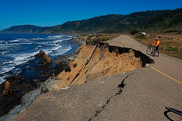 Route 1 erosion Westport-Union State Park on the northern CA California coast.  Not good for an RV