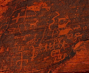 Petroglyph rock art at Atlatl Rock panel