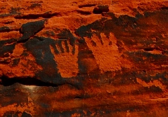 Petroglyph rock art, footprints