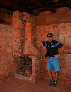 Fireplace inside one of the cabins