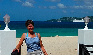 Emily with Grand Anse Beach behind her