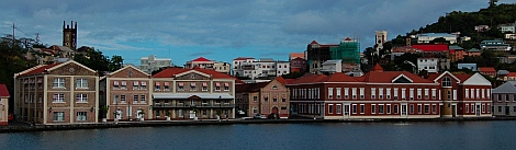 Government buildings on the harbor Grenada