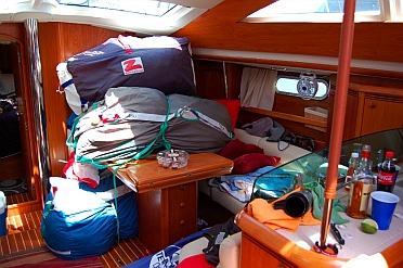 controlled chaos below decks on a raceboat